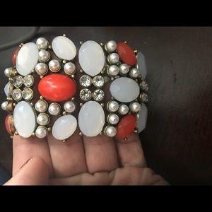 Loft Stretch Bracelet coral and white